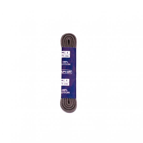 Шнурки Saphir 75см. круглые, тонкие (15 темно-серый)