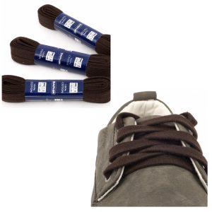 Шнурки Saphir 150см. Плоские, 10мм, (732 тем.коричневый)