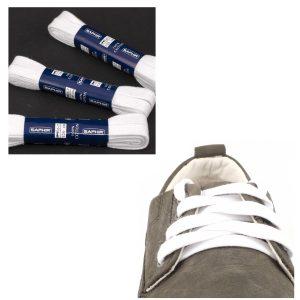 Шнурки Saphir 150см. Плоские, 10мм, (701 белый)