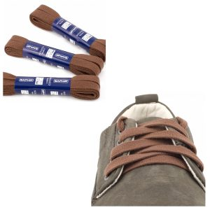 Шнурки Saphir 150см. Плоские, 8мм, (37 средне-коричневый)