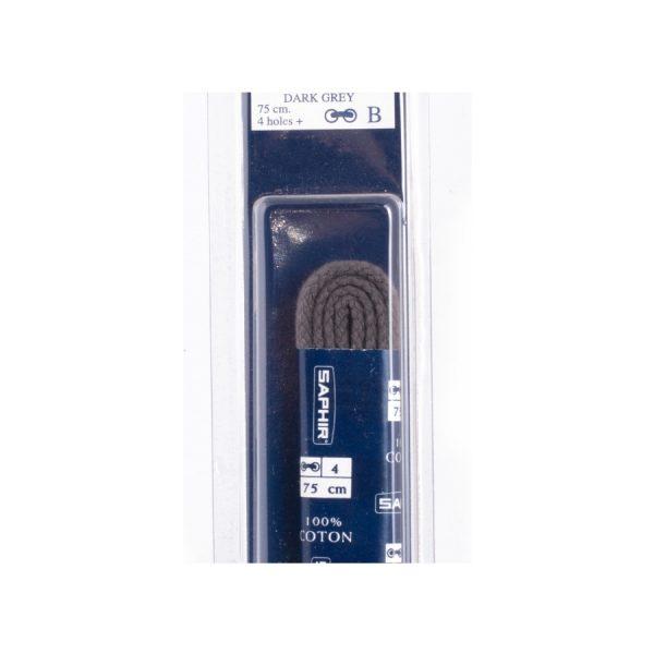 Шнурки Saphir 75см. круглые, толстые (15 темно-серый)