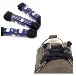 Шнурки Saphir 150см. Плоские, 8мм, (01 черный)