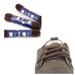 Шнурки Saphir 90см. Плоские, 8мм, (732 тем.коричневый)