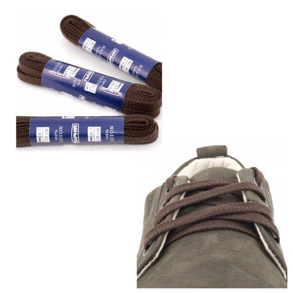 Шнурки Saphir 60см. Плоские, 8мм, (05 тем.коричневый)