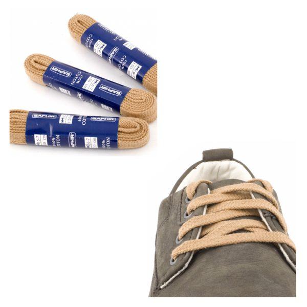 Шнурки Saphir 60см. Плоские, 8мм, (16 бежевый)