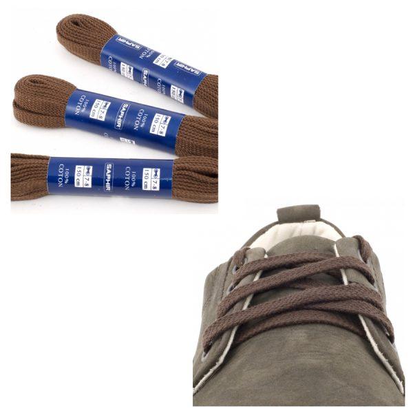 Шнурки Saphir 90см. Плоские (37 коричневый)