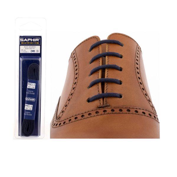 Шнурки Saphir 75см. круглые, тонкие (06 темно-синий)
