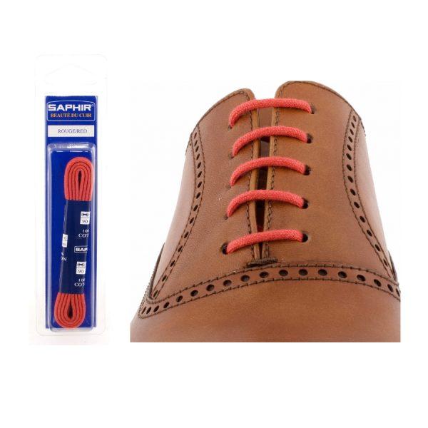 Шнурки Saphir 90см. круглые, тонкие (11 красный)