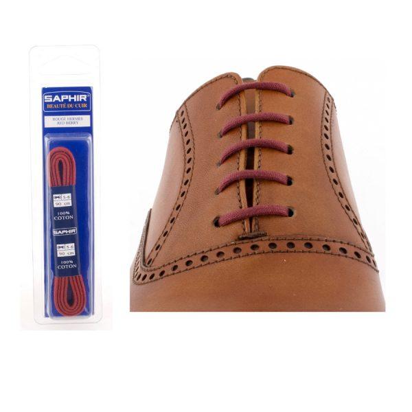 Шнурки Saphir 75см. круглые, тонкие (12 темно-красный)