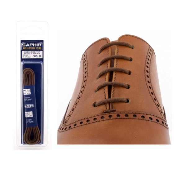 Шнурки Saphir 90см. круглые, тонкие (37 средне-коричневый)