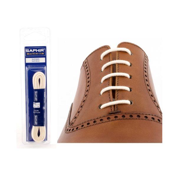 Шнурки Saphir 75см. круглые, тонкие (39 натуральный)