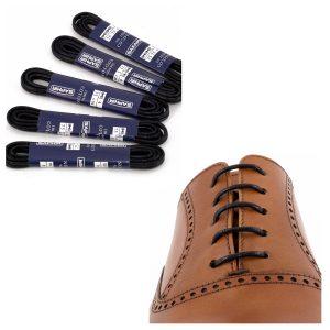Шнурки Saphir 90см. круглые, тонкие с пропиткой (702 черный)