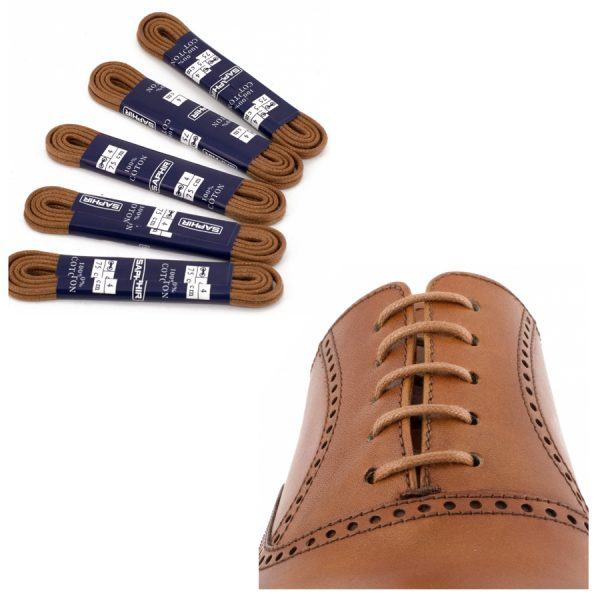 Шнурки Saphir 90см. круглые, тонкие с пропиткой (03 светло-коричневый)
