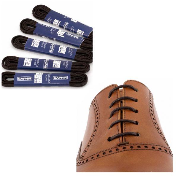 Шнурки Saphir 60см. круглые, тонкие с пропиткой (05 тем.коричневый)