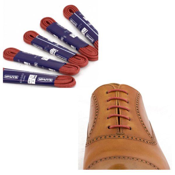 Шнурки Saphir 90см. круглые, тонкие с пропиткой (11 красный)