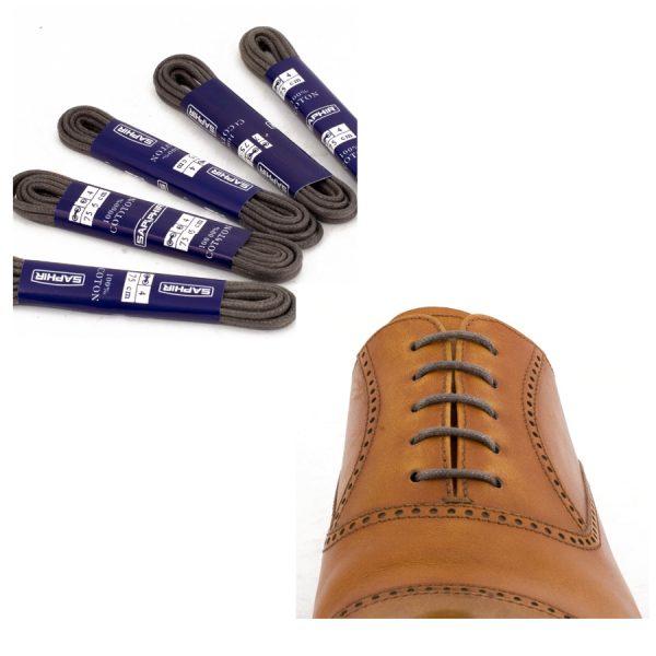 Шнурки Saphir 75см. круглые, тонкие с пропиткой (15 темно-серый)