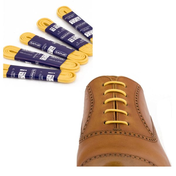 Шнурки Saphir 75см. круглые, тонкие с пропиткой (53 желтый)