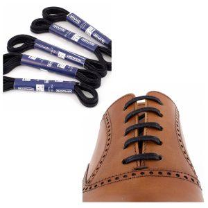 Шнурки Saphir 75см. плоские с пропиткой. (702/01 черный)