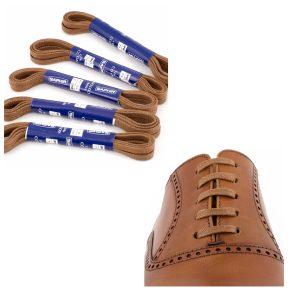 Шнурки Saphir 75см. плоские с пропиткой. (703/03 св.коричневый)