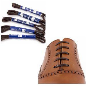 Шнурки Saphir 75см. плоские с пропиткой. (732/05 тем.коричневый)