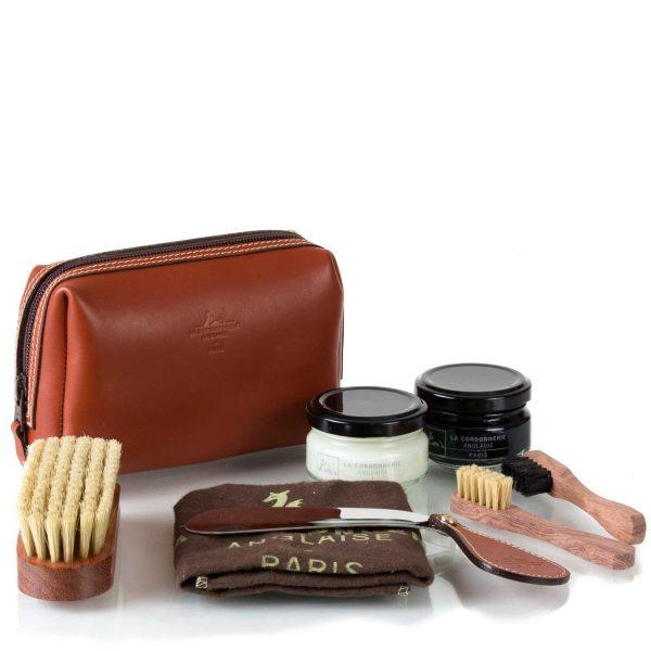Набор-сумка с обувной косметикой La Cordonnerie Anglaise, кожа, черный