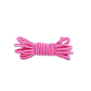 Круглые двухцветные шнурки 120см – Бело-розовые