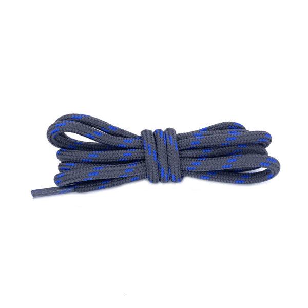 Круглые двухцветные шнурки 120см – Сине-серые
