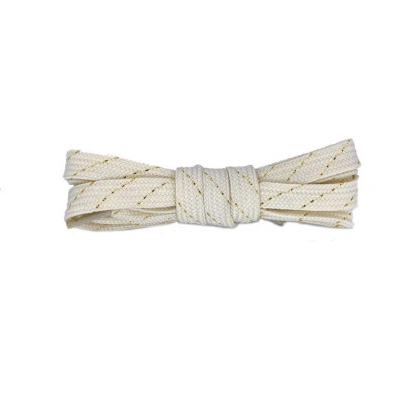 Шнурки плоские 120см – нежно-желтые  с золотой нитью