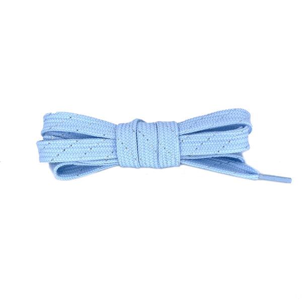 Шнурки плоские 120см – нежно-голубые  с серебряной нитью