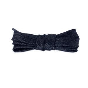 Плоские шнурки металлик 110 см – Черные