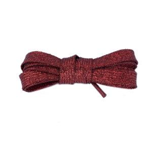 Плоские шнурки металлик 110 см – Красные