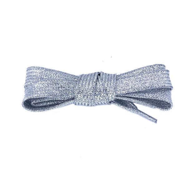 Плоские шнурки металлик 110 см – Серебрянные