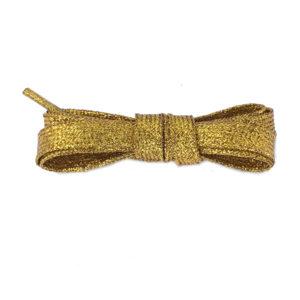 Плоские шнурки металлик 110 см – Медно-золотые