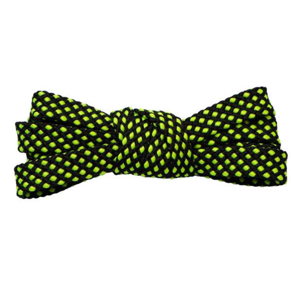 Двухцветные шнурки черно-зеленые неон 100 см