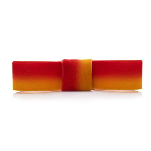 Шнурки из органзы двухцветные 120 см – красно-желтые