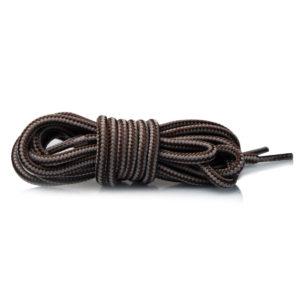 Круглые двухцветные шнурки 150см – коричнево-серые