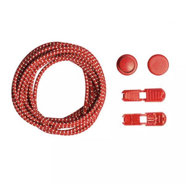 Шнурки эластичные светоотражающие с фиксатором, красные